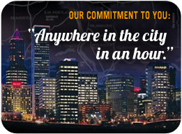 Our commitment to you: 'Anywhere in the city in an hour'